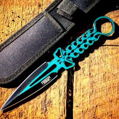 "8"" Defender Green Skull Throwing Knife with Sheath"