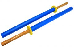 "35"" Blue Hard Wood Practice Sword Set 2pc"