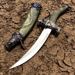 "13.5"" Green Bear Mongolian Dagger with Sheath"
