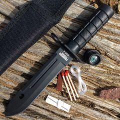 "8.5"" Defender-Xtreme Mini Survival Bayonet Knife Serrated w/ Sheath Fire Starter"