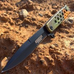 "7.25"" Defender Xtreme Light Green Camouflage Folding Spring Assisted Knife"
