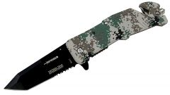 "8"" Spring Assisted Digital Woodland Camo Knife and Belt Cutter"