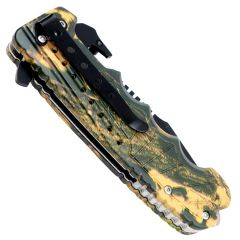 """9"""" Spring Assisted Light Brown Woodland camo Handle Knife with Bottle Opener"""