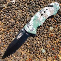 "8"" Spring Assisted Camo Digital Woodland  Knife and Belt Cutter"
