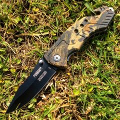"""8"""" Spring Assisted Woodland Camo Knife and Belt Cutter"""