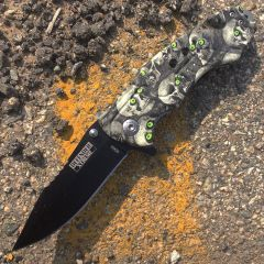 "8"" Spring Assisted Skull Handle Knife and Belt Cutter"