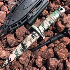 """7"""" Defender Xtreme Woodland Camo Mini Hunting Knife Stainless Steel Blade with Fire Starter"""