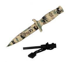 """7"""" Defender Xtreme Desert Camo Mini Hunting Knife Stainless Steel Blade with Fire Starter"""