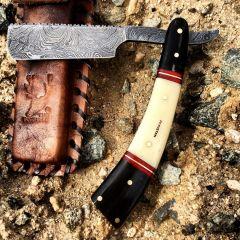 """10"""" Damascus Steel Sharp Razor Blade Buffalo Horn Handle Hand Made"""