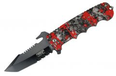 """9"""" Defender Xtreme Spring Assisted Folding Knife Red Zombie Blood Handle"""