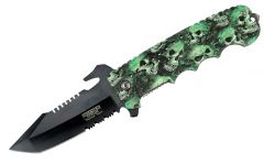 "9"" Defender Xtreme Folding Knife Green Skull Handle"