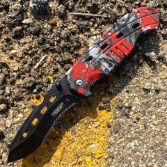 """8"""" Defender Xtreme Serrated Spring Assisted Knife Red Zombie Handle with Belt Clip"""