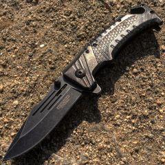 "8"" Defender Xtreme Spring Assisted Knife Black Handle with Seat Belt Cutter"