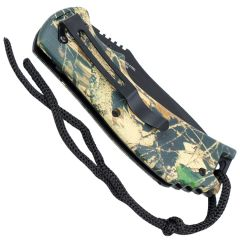 """8"""" Spring Assisted Woodland Camo Handle Knife"""