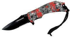 """8"""" Spring Assisted Skull Red Handle Knife"""