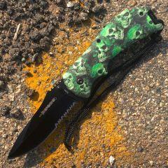 "8"" Spring Assisted Skull Green Handle Knife"
