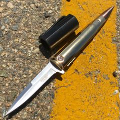 """5.5"""" Defender Xtreme Gold Bullet Handle Spring Assisted Knife With Belt Clip"""