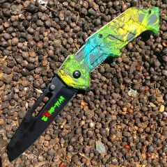 "8"" Zomb War Spring Assisted Clip Point Knife & Rainbow Viper Handle"