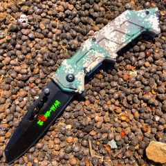 """8"""" Zomb War Spring Assisted Clip Point Knife & Digital Camo"""