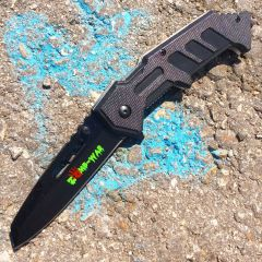 "8"" Zomb War Spring Assisted Black Clip Point Knife & Belt Clip"