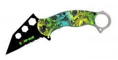 """7.5"""" Zomb War Spring Assisted Tanto Knife Teal Ocean Camo Handle Fore Finger Grip"""