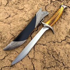 "11.5"" Stainless Steel Decorative Dagger with Light Brown Handle and Plastic Sheath"