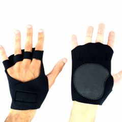 Perrini Black Fingerless Sport Gloves with Velcro Wrist Strap