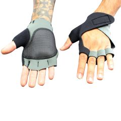 Perrini Gray Fingerless Sport Gloves with Velcro Wrist Strap (With Thumb Padding)