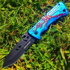 "8"" Hunt Down Blue Handle Spring Assisted Knife With Belt Clip"