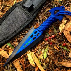 Zomb War Throwing knife Blue W/ sheath
