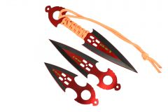 Zomb War 3 Pc Throwing Knife set Red W/sheath