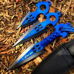 Zomb War 3 Pc Throwing Knife set Blue W/sheath