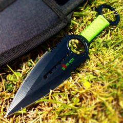 Zomb War Throwing Knife Black color W/ sheath and Green cord