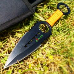 Zomb War Throwing Knife Black color W/ sheath and Orange cord