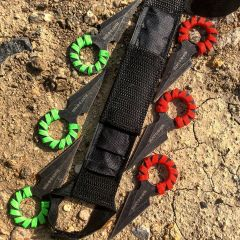 "4"" Hunt Down Red &Green Rope Wrapped Around Handle Throwing Knives"