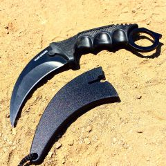 "7.5"" Hunt-Down Karambit Black Hunting Knife with Sheath"
