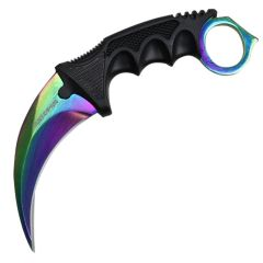 "7.5"" Hunt-Down Karambit Multi Color Blade Hunting Knife with Sheath and Clip"