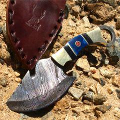 "TheBoneEdge 7.5"" Full Tang Damascus Blade Skinner Knife With Leather Sheath"