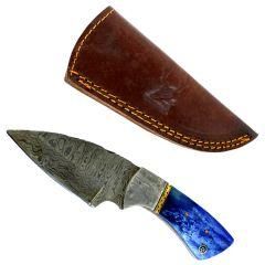"TheBoneEdge 7"" Damascus Fixed Blade Full Tang  Blue Bone Handle Steel Knife"