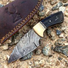 "TheBoneEdge 7"" Damascus Fixed Blade Full Tang  Black Horn & Bone Handle Knife"
