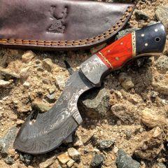 "TheBoneEdge  8"" Damascus Fixed Blade FullTang Red&Black  Bone Handle Steel Knife"