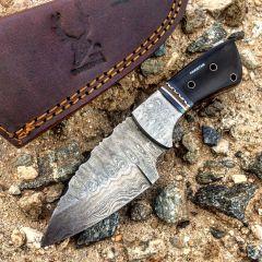 "TheBoneEdge  7"" Damascus Steel Knife Fixed Blade FullTang Black  Horn Handle"