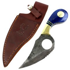"The Bone Edge 7.5"" Damascus Blade Hunting Tactical Knife Blue Handle Leather Sheath"