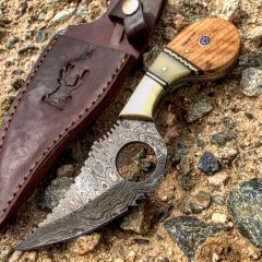 "TheBoneEdge  7.25"" Damascus Steel  FullTang  Wood & Bone Handle Hunting Knife"