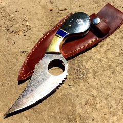"The Bone Edge 7.5"" Damascus Blade Hunting Knife Black & Blue Handle Leather Sheath"