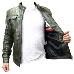 New Mens Genuine Sheep Skin Leather Fashion Jacket Green 2 buttoned chest Pocket