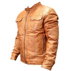 New Mens Genuine Sheep Skin Leather Fashion Jacket Brown 2 buttoned chest Pocket
