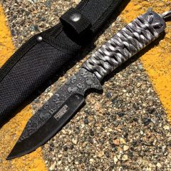 "Defender-Xtreme 9"" Full Tang Hunting Tactical Survival Stonewash Blade Knife"