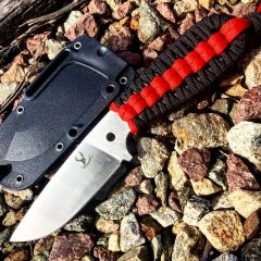 """TheBoneEdge 7.5"""" Hunting Tactical Knife w/ Sheath and Red & Black Strap Handle"""