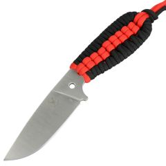 "TheBoneEdge 7.5"" Hunting Tactical Knife w/ Sheath and Red & Black Strap Handle"